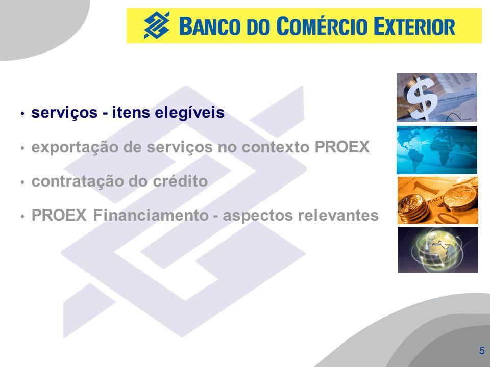 5  serviços - itens elegíveis  exportação de serviços no contexto PROEX  contratação do crédito  PROEX Financiamento - aspectos relevantes