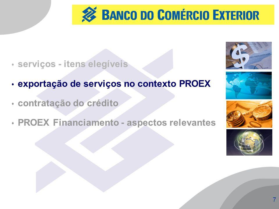 7  serviços - itens elegíveis  exportação de serviços no contexto PROEX  contratação do crédito  PROEX Financiamento - aspectos relevantes
