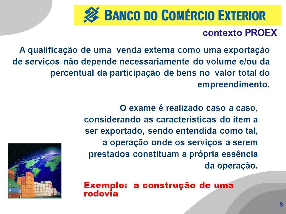 8 contexto PROEX A qualificação de uma venda externa como uma exportação de serviços não depende necessariamente do volume e/ou da percentual da parti