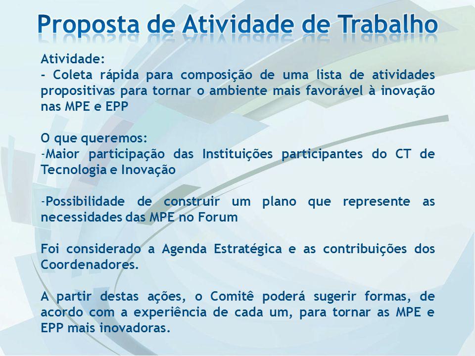 Atividade: - Coleta rápida para composição de uma lista de atividades propositivas para tornar o ambiente mais favorável à inovação nas MPE e EPP O qu