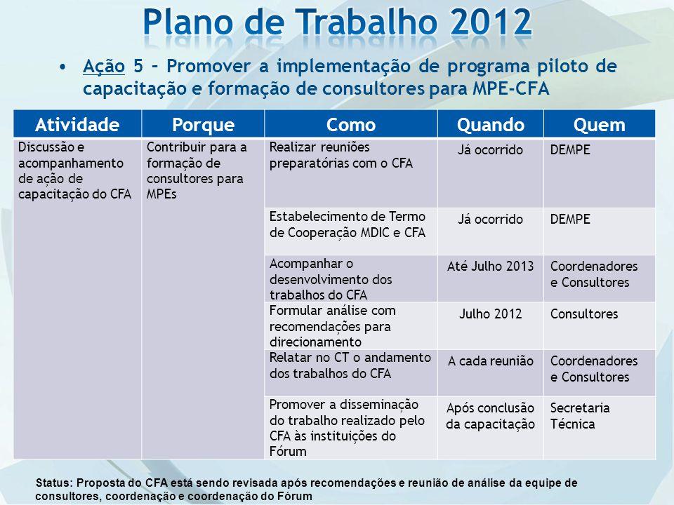 Ação 5 – Promover a implementação de programa piloto de capacitação e formação de consultores para MPE-CFA AtividadePorqueComoQuandoQuem Discussão e a