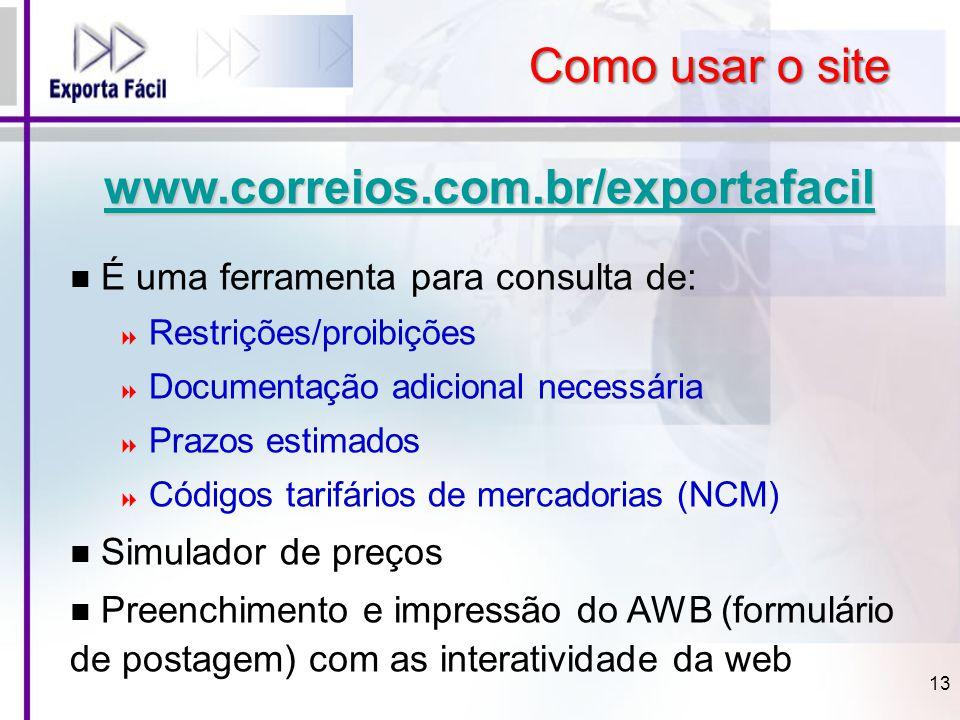 www.correios.com.br/exportafacil É uma ferramenta para consulta de:  Restrições/proibições  Documentação adicional necessária  Prazos estimados  C