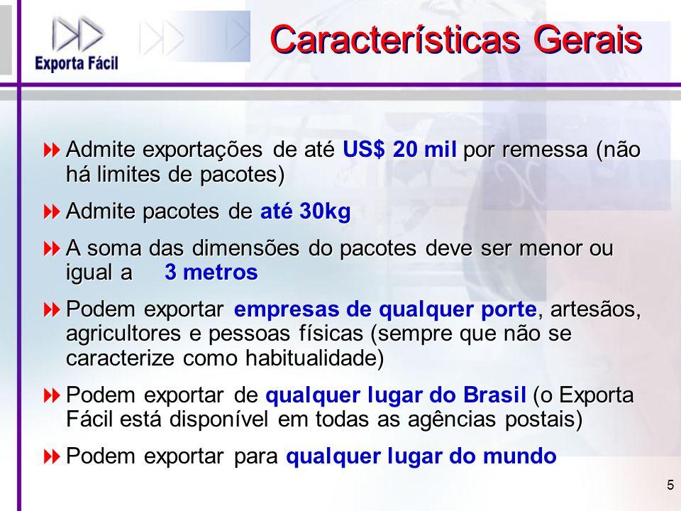  Admite exportações de até US$ 20 mil por remessa (não há limites de pacotes)  Admite pacotes de até 30kg  A soma das dimensões do pacotes deve ser