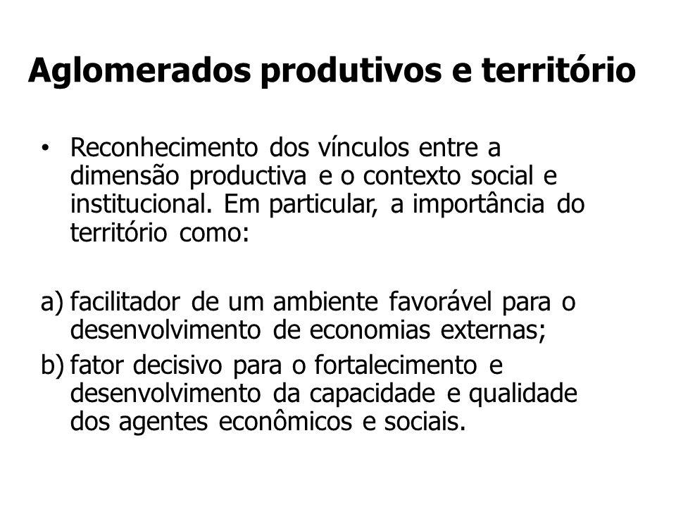 Aglomerados produtivos e território Reconhecimento dos vínculos entre a dimensão productiva e o contexto social e institucional.