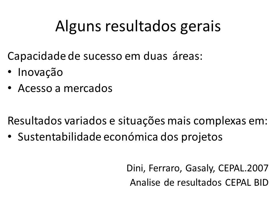 Alguns resultados gerais Capacidade de sucesso em duas áreas: Inovação Acesso a mercados Resultados variados e situações mais complexas em: Sustentabilidade económica dos projetos Dini, Ferraro, Gasaly, CEPAL.2007 Analise de resultados CEPAL BID