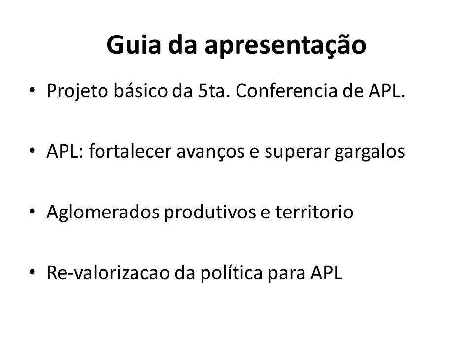 Guia da apresentação Projeto básico da 5ta. Conferencia de APL.
