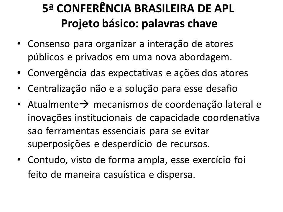 5ª CONFERÊNCIA BRASILEIRA DE APL Projeto básico: palavras chave Consenso para organizar a interação de atores públicos e privados em uma nova abordagem.