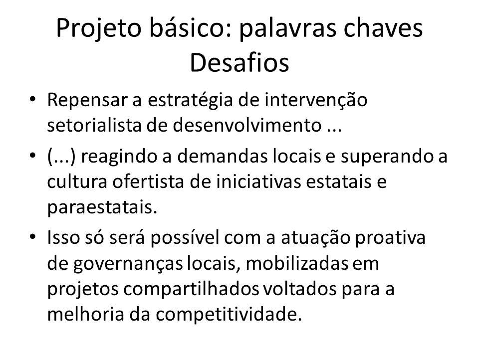 Projeto básico: palavras chaves Desafios Repensar a estratégia de intervenção setorialista de desenvolvimento...
