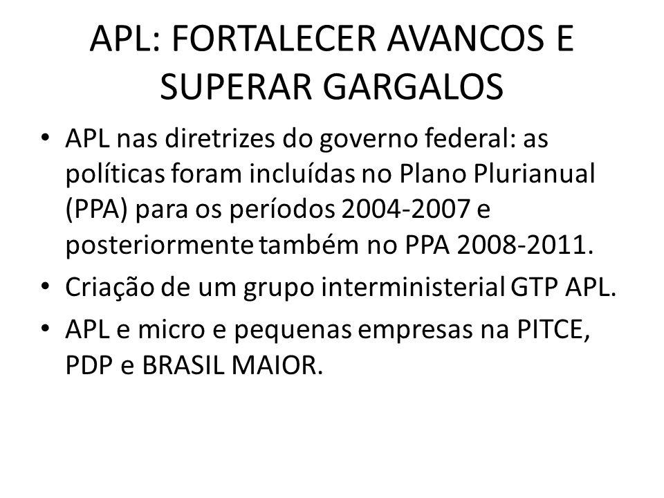APL: FORTALECER AVANCOS E SUPERAR GARGALOS APL nas diretrizes do governo federal: as políticas foram incluídas no Plano Plurianual (PPA) para os períodos 2004-2007 e posteriormente também no PPA 2008-2011.