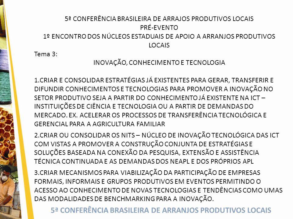 5ª CONFERÊNCIA BRASILEIRA DE ARRANJOS PRODUTIVOS LOCAIS 5ª CONFERÊNCIA BRASILEIRA DE ARRAJOS PRODUTIVOS LOCAIS PRÉ-EVENTO 1º ENCONTRO DOS NÚCLEOS ESTADUAIS DE APOIO A ARRANJOS PRODUTIVOS LOCAIS Tema 3: INOVAÇÃO, CONHECIMENTO E TECNOLOGIA 1.CRIAR E CONSOLIDAR ESTRATÉGIAS JÁ EXISTENTES PARA GERAR, TRANSFERIR E DIFUNDIR CONHECIMENTOS E TECNOLOGIAS PARA PROMOVER A INOVAÇÃO NO SETOR PRODUTIVO SEJA A PARTIR DO CONHECIMENTO JÁ EXISTENTE NA ICT – INSTITUIÇÕES DE CIÊNCIA E TECNOLOGIA OU A PARTIR DE DEMANDAS DO MERCADO.
