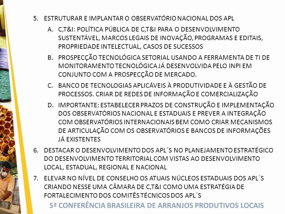 5ª CONFERÊNCIA BRASILEIRA DE ARRANJOS PRODUTIVOS LOCAIS 5.ESTRUTURAR E IMPLANTAR O OBSERVATÓRIO NACIONAL DOS APL A.C,T&I: POLÍTICA PÚBLICA DE C,T&I PARA O DESENVOLVIMENTO SUSTENTÁVEL, MARCOS LEGAIS DE INOVAÇÃO, PROGRAMAS E EDITAIS, PROPRIEDADE INTELECTUAL, CASOS DE SUCESSOS B.PROSPECÇÃO TECNOLÓGICA SETORIAL USANDO A FERRAMENTA DE TI DE MONITORAMENTO TECNOLÓGICA JÁ DESENVOLVIDA PELO INPI EM CONJUNTO COM A PROSPECÇÃO DE MERCADO.