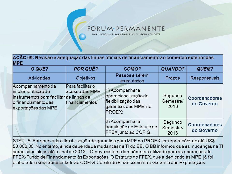 AÇÃO 09: Revisão e adequação das linhas oficiais de financiamento ao comércio exterior das MPE O QUE?POR QUÊ?COMO?QUANDO?QUEM? AtividadesObjetivos Pas