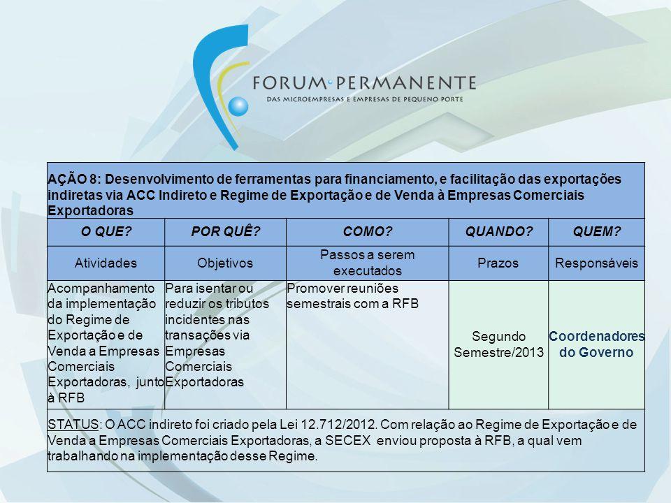 AÇÃO 8: Desenvolvimento de ferramentas para financiamento, e facilitação das exportações indiretas via ACC Indireto e Regime de Exportação e de Venda