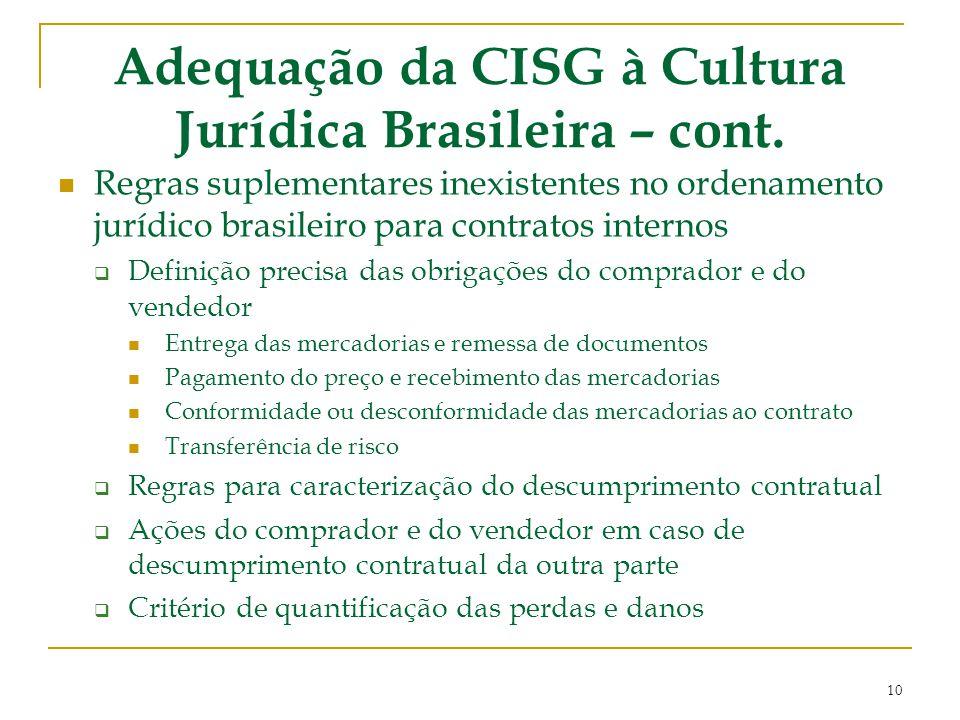 Adequação da CISG à Cultura Jurídica Brasileira – cont. Regras suplementares inexistentes no ordenamento jurídico brasileiro para contratos internos 