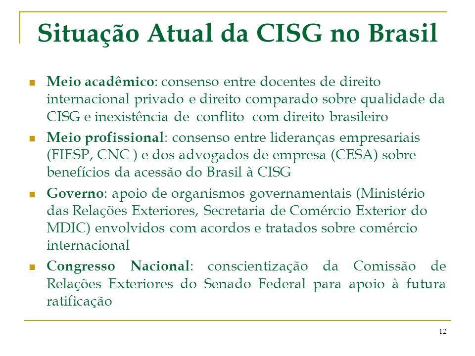 Situação Atual da CISG no Brasil Meio acadêmico : consenso entre docentes de direito internacional privado e direito comparado sobre qualidade da CISG