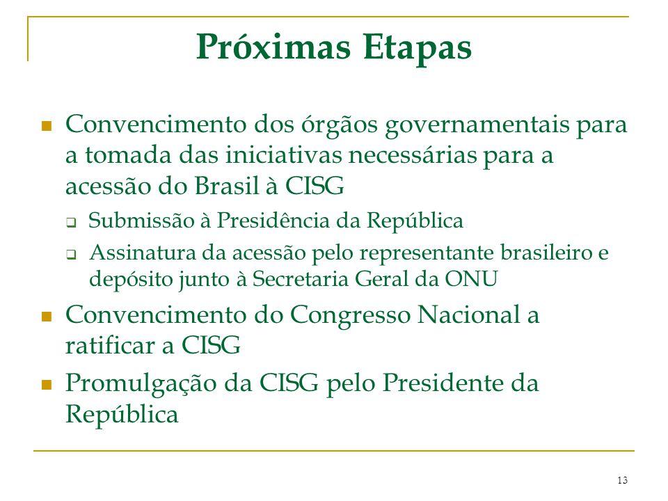 Próximas Etapas Convencimento dos órgãos governamentais para a tomada das iniciativas necessárias para a acessão do Brasil à CISG  Submissão à Presid