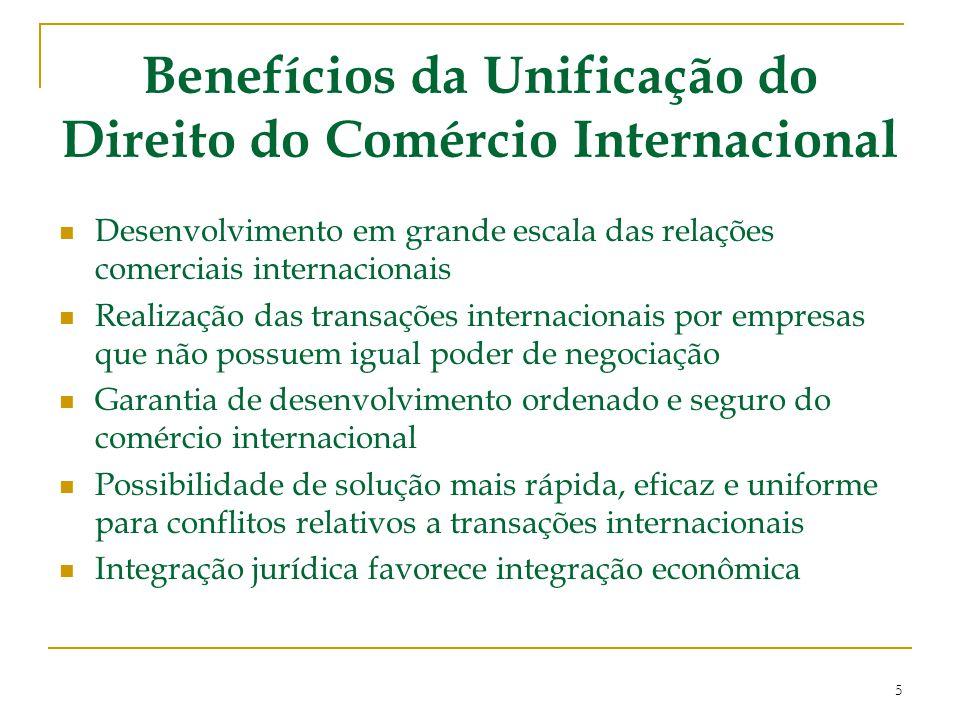 Benefícios da Unificação do Direito do Comércio Internacional Desenvolvimento em grande escala das relações comerciais internacionais Realização das t