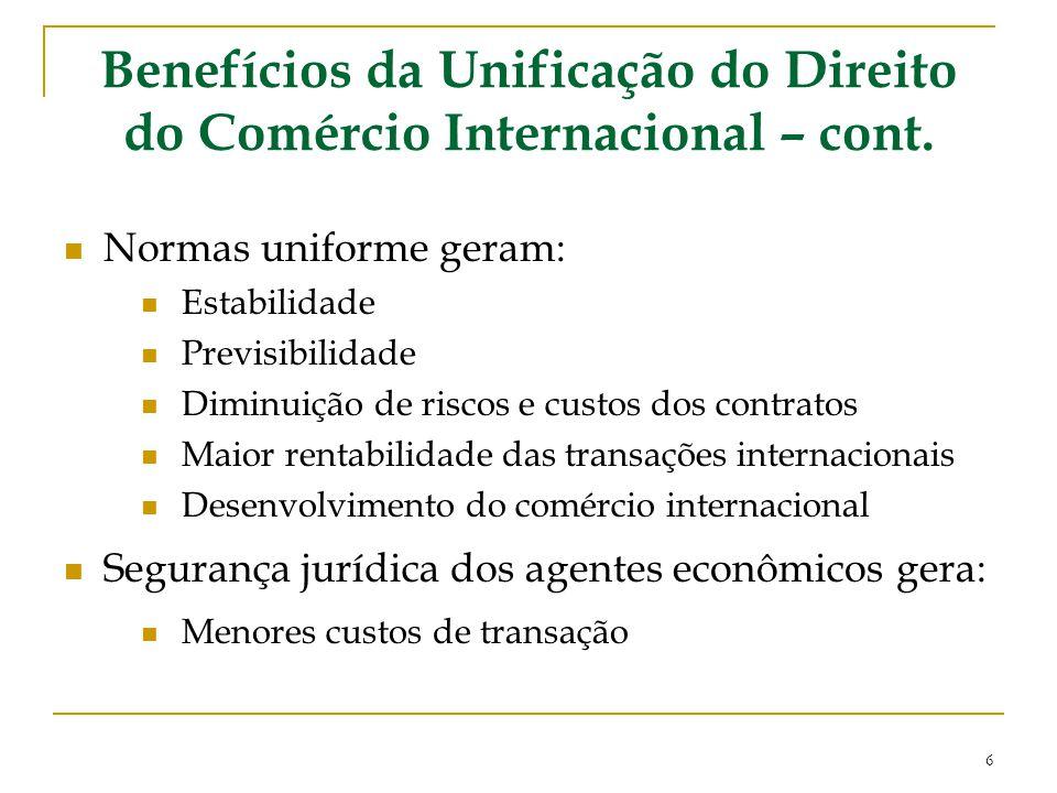 Benefícios da Unificação do Direito do Comércio Internacional – cont. Normas uniforme geram: Estabilidade Previsibilidade Diminuição de riscos e custo