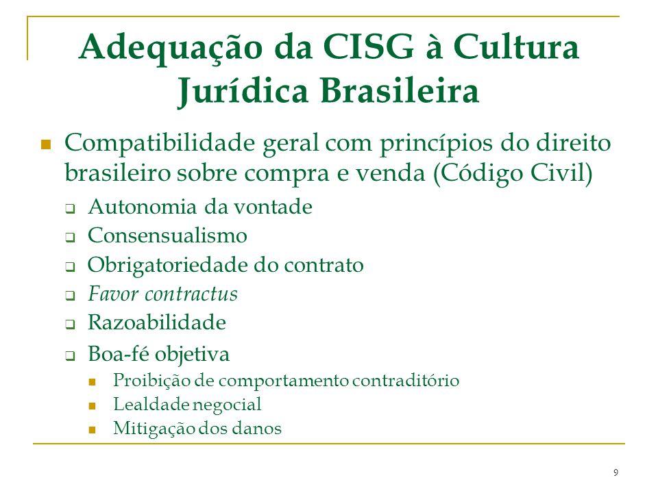 Adequação da CISG à Cultura Jurídica Brasileira Compatibilidade geral com princípios do direito brasileiro sobre compra e venda (Código Civil)  Auton