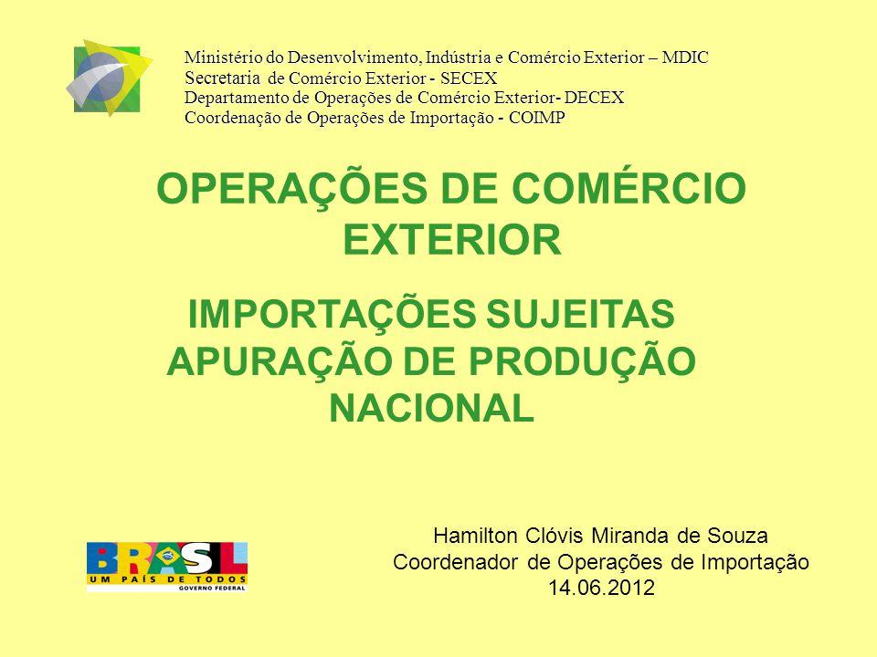 OPERAÇÕES DE COMÉRCIO EXTERIOR Ministério do Desenvolvimento, Indústria e Comércio Exterior – MDIC Secretaria de Comércio Exterior - SECEX Departament
