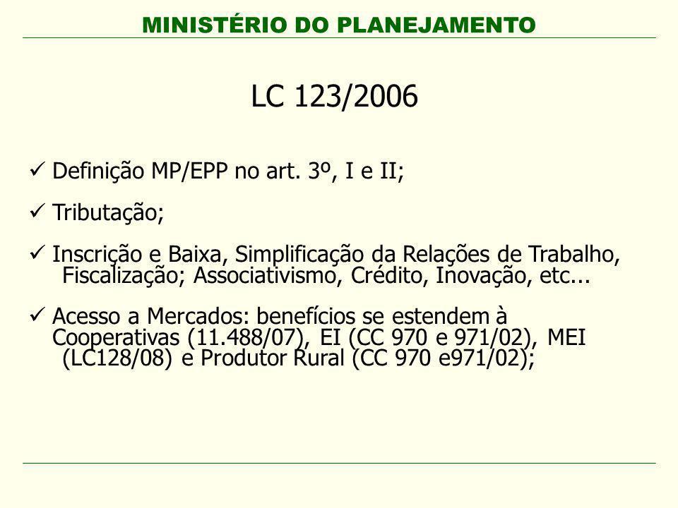 MINISTÉRIO DO PLANEJAMENTO LC 123/2006 Definição MP/EPP no art. 3º, I e II; Tributação; Inscrição e Baixa, Simplificação da Relações de Trabalho, Fisc