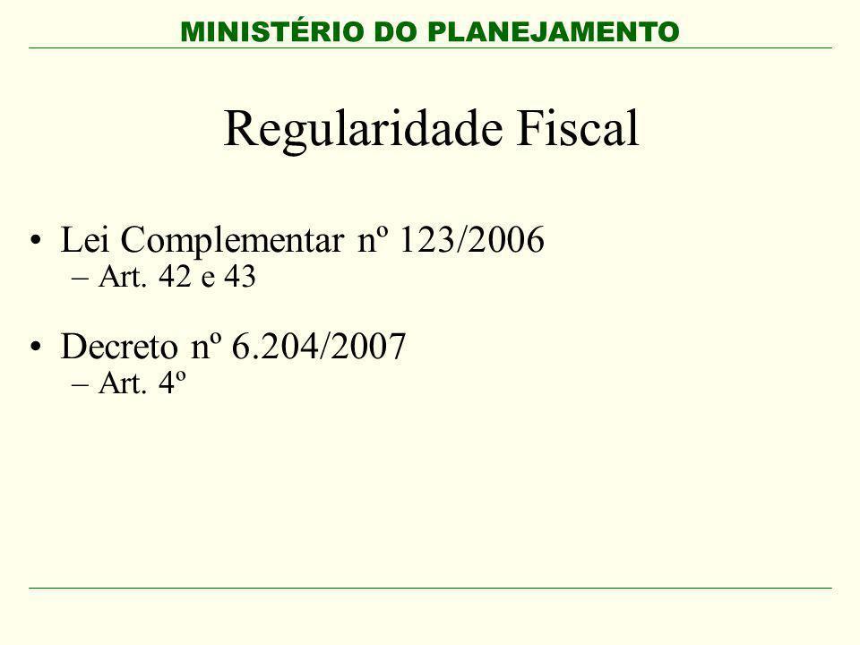 MINISTÉRIO DO PLANEJAMENTO Regularidade Fiscal Lei Complementar nº 123/2006 –Art. 42 e 43 Decreto nº 6.204/2007 –Art. 4º