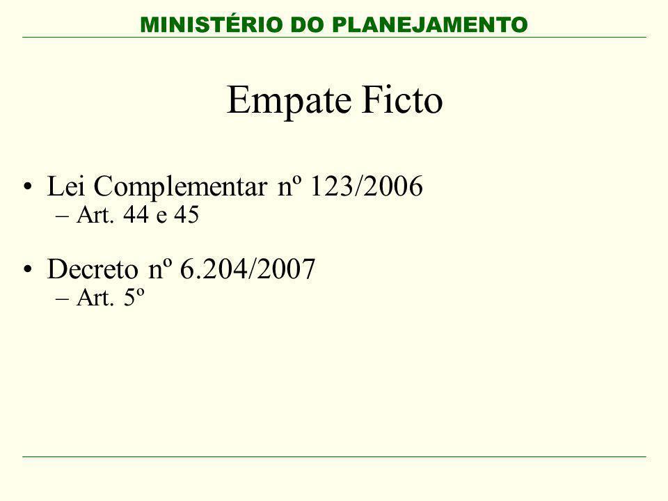 MINISTÉRIO DO PLANEJAMENTO Empate Ficto Lei Complementar nº 123/2006 –Art. 44 e 45 Decreto nº 6.204/2007 –Art. 5º