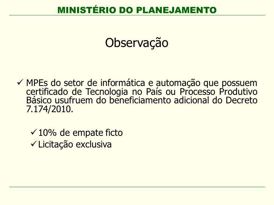 MINISTÉRIO DO PLANEJAMENTO Observação MPEs do setor de informática e automação que possuem certificado de Tecnologia no País ou Processo Produtivo Bás