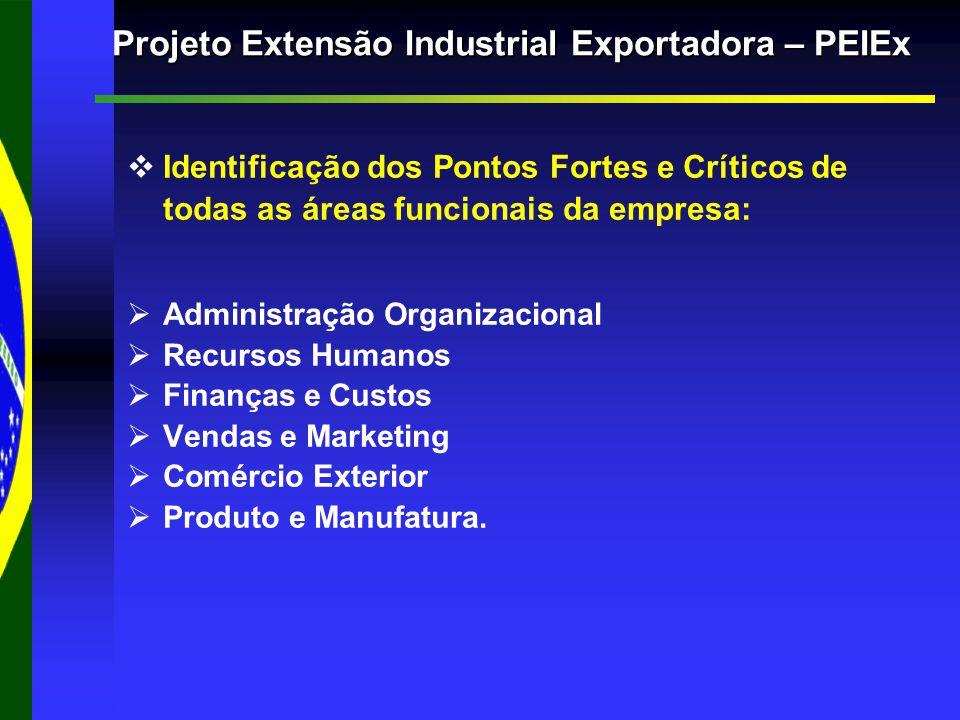 Projeto Extensão Industrial Exportadora – PEIEx   Identificação dos Pontos Fortes e Críticos de todas as áreas funcionais da empresa:   Administração Organizacional   Recursos Humanos   Finanças e Custos   Vendas e Marketing   Comércio Exterior   Produto e Manufatura.