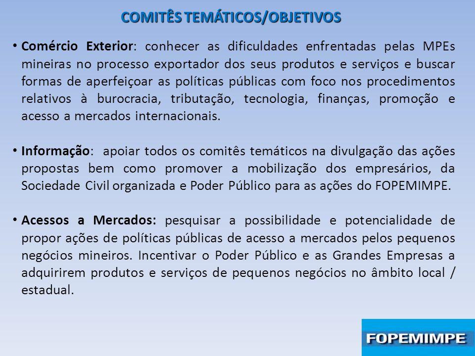 COMITÊS TEMÁTICOS/OBJETIVOS Comércio Exterior: conhecer as dificuldades enfrentadas pelas MPEs mineiras no processo exportador dos seus produtos e ser