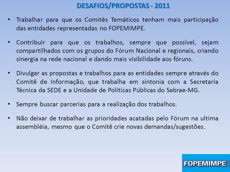 DESAFIOS/PROPOSTAS - 2011 Trabalhar para que os Comitês Temáticos tenham mais participação das entidades representadas no FOPEMIMPE. Contribuir para q