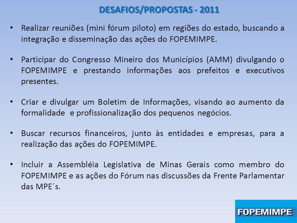 DESAFIOS/PROPOSTAS - 2011 Realizar reuniões (mini fórum piloto) em regiões do estado, buscando a integração e disseminação das ações do FOPEMIMPE. Par