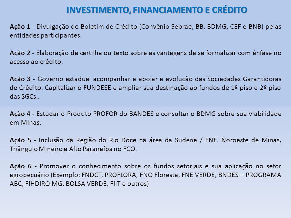 INVESTIMENTO, FINANCIAMENTO E CRÉDITO Ação 1 - Divulgação do Boletim de Crédito (Convênio Sebrae, BB, BDMG, CEF e BNB) pelas entidades participantes.
