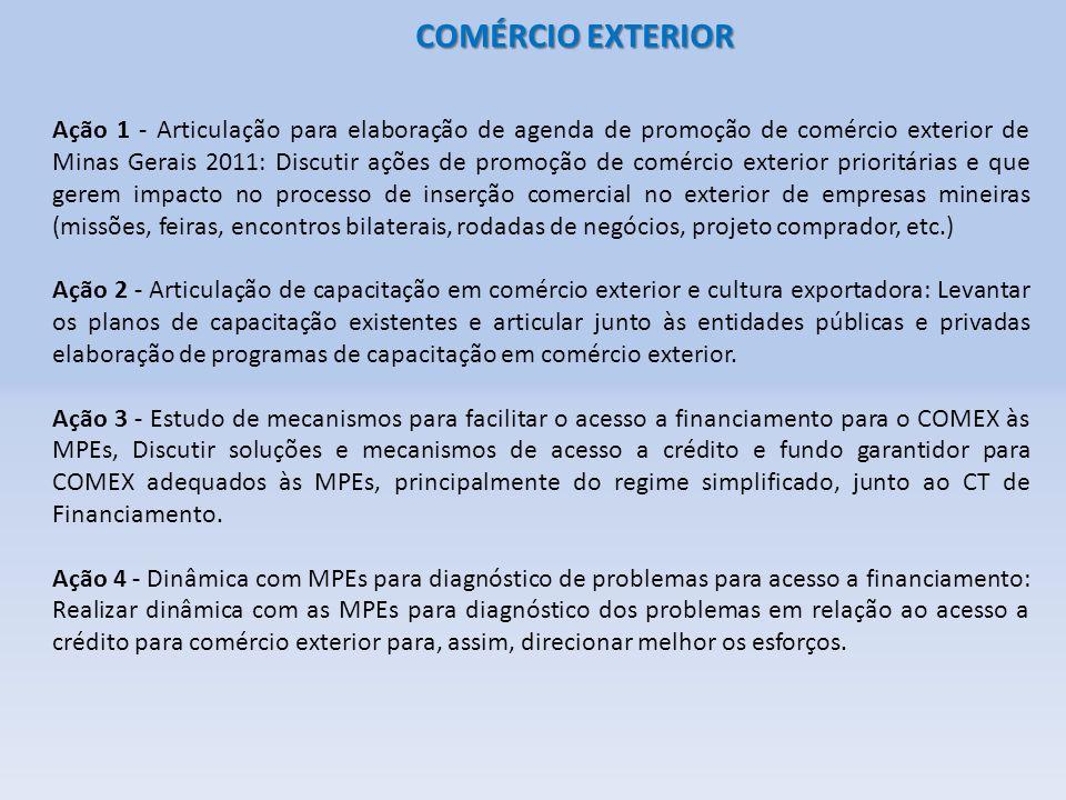 COMÉRCIO EXTERIOR Ação 1 - Articulação para elaboração de agenda de promoção de comércio exterior de Minas Gerais 2011: Discutir ações de promoção de