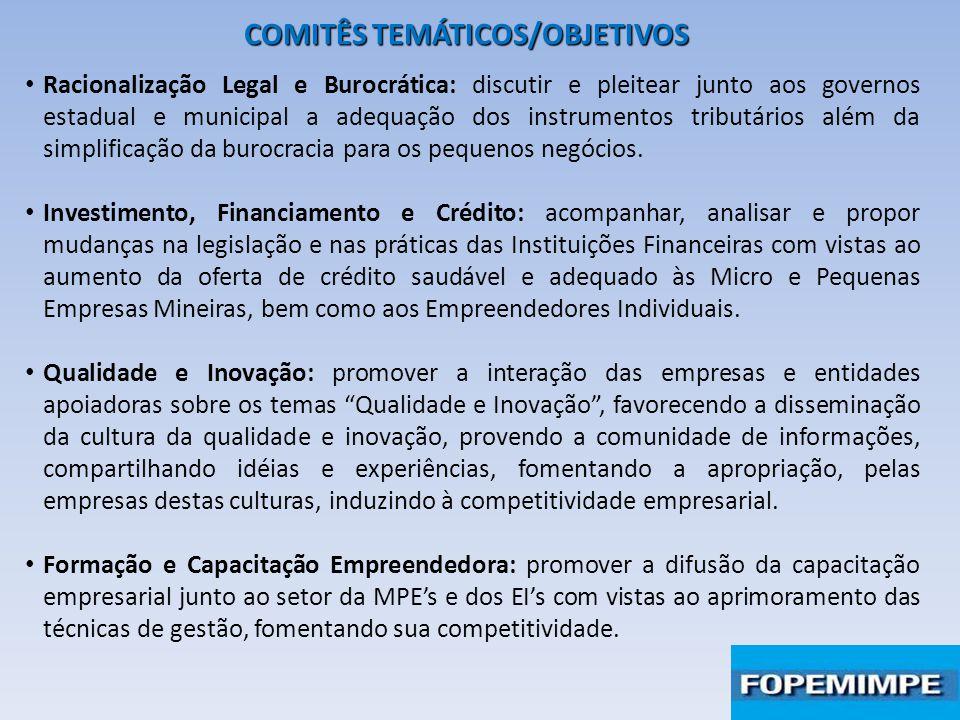 COMITÊS TEMÁTICOS/OBJETIVOS Racionalização Legal e Burocrática: discutir e pleitear junto aos governos estadual e municipal a adequação dos instrument