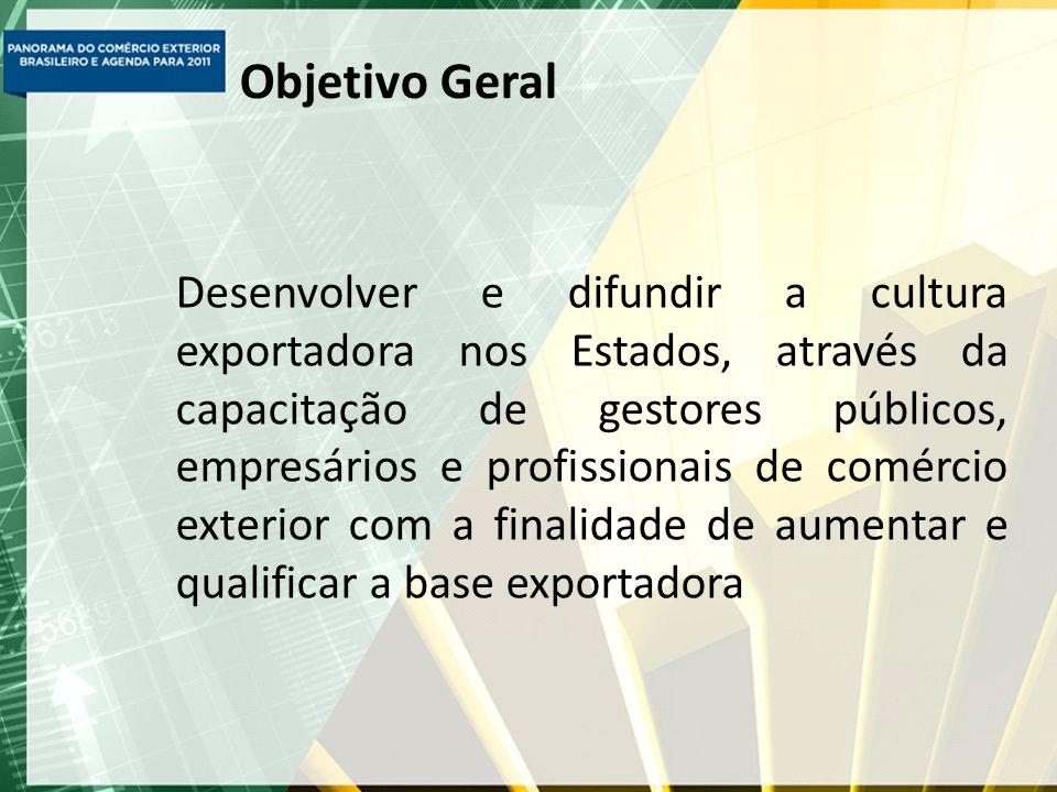 Objetivo Geral Desenvolver e difundir a cultura exportadora nos Estados, através da capacitação de gestores públicos, empresários e profissionais de comércio exterior com a finalidade de aumentar e qualificar a base exportadora