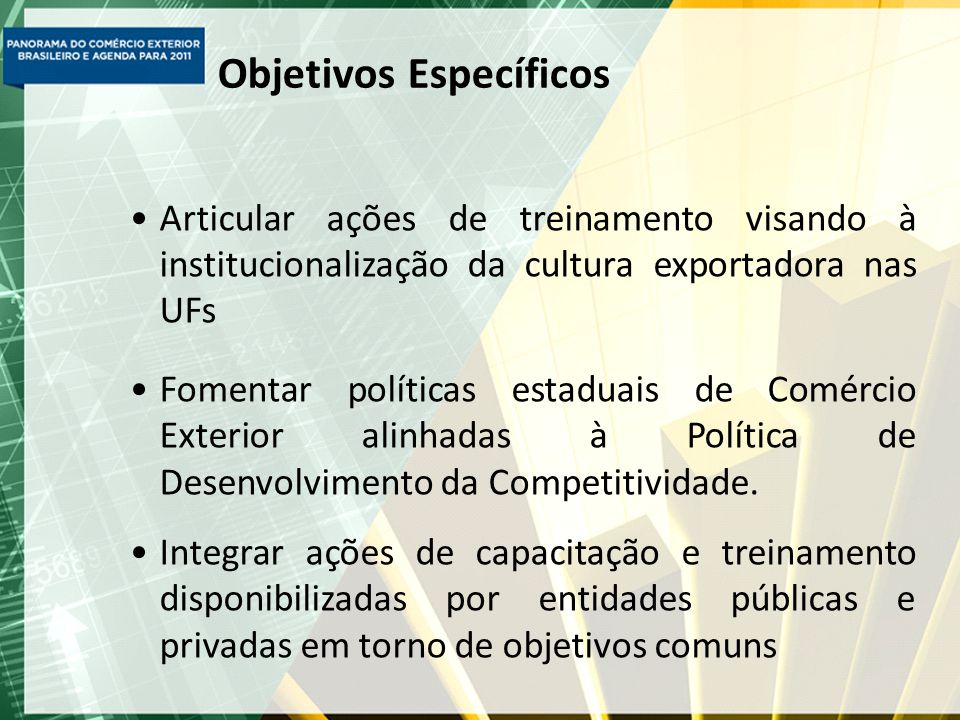 Objetivos Específicos Articular ações de treinamento visando à institucionalização da cultura exportadora nas UFs Fomentar políticas estaduais de Comércio Exterior alinhadas à Política de Desenvolvimento da Competitividade.