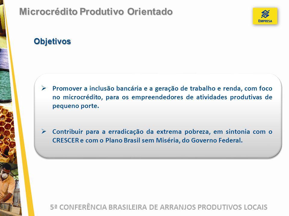 5ª CONFERÊNCIA BRASILEIRA DE ARRANJOS PRODUTIVOS LOCAIS  Promover a inclusão bancária e a geração de trabalho e renda, com foco no microcrédito, para os empreendedores de atividades produtivas de pequeno porte.
