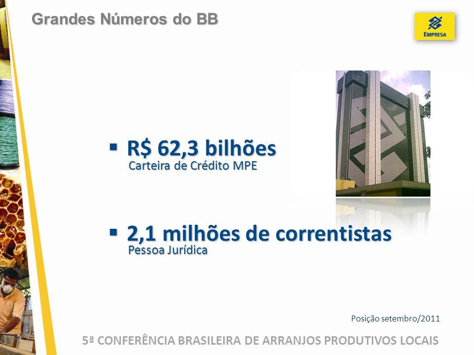 5ª CONFERÊNCIA BRASILEIRA DE ARRANJOS PRODUTIVOS LOCAIS Posição setembro/2011  R$ 62,3 bilhões  2,1 milhões de correntistas Carteira de Crédito MPE Pessoa Jurídica Grandes Números do BB
