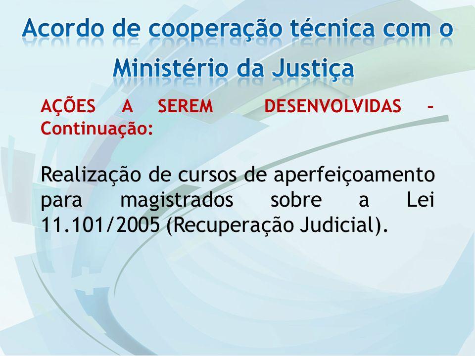 AÇÕES A SEREM DESENVOLVIDAS – Continuação: Realização de cursos de aperfeiçoamento para magistrados sobre a Lei 11.101/2005 (Recuperação Judicial).