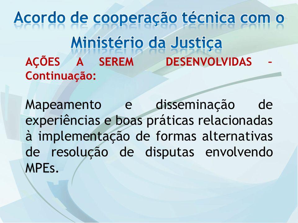 AÇÕES A SEREM DESENVOLVIDAS – Continuação: Mapeamento e disseminação de experiências e boas práticas relacionadas à implementação de formas alternativas de resolução de disputas envolvendo MPEs.