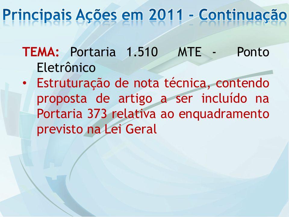 TEMA: Portaria 1.510 MTE - Ponto Eletrônico Estruturação de nota técnica, contendo proposta de artigo a ser incluído na Portaria 373 relativa ao enquadramento previsto na Lei Geral