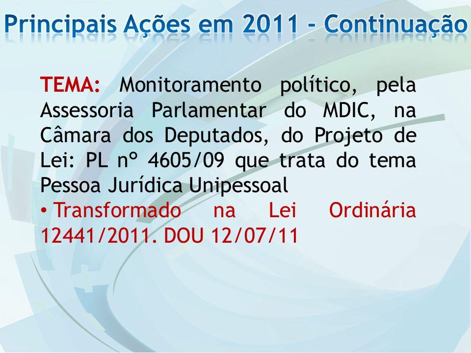 TEMA: Monitoramento político, pela Assessoria Parlamentar do MDIC, na Câmara dos Deputados, do Projeto de Lei: PL n° 4605/09 que trata do tema Pessoa Jurídica Unipessoal Transformado na Lei Ordinária 12441/2011.