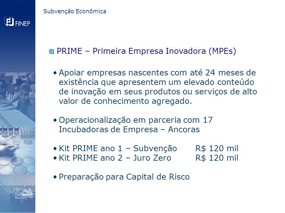 Subvenção Econômica PRIME – Primeira Empresa Inovadora (MPEs) Apoiar empresas nascentes com até 24 meses de existência que apresentem um elevado conteúdo de inovação em seus produtos ou serviços de alto valor de conhecimento agregado.