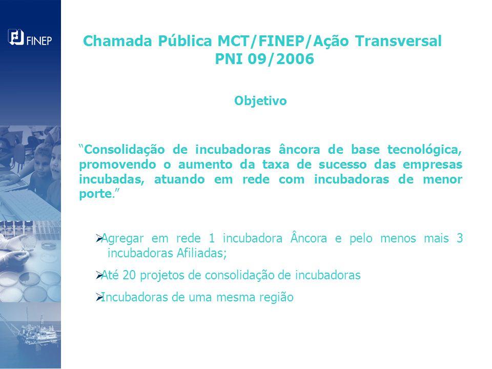 Objetivo Consolidação de incubadoras âncora de base tecnológica, promovendo o aumento da taxa de sucesso das empresas incubadas, atuando em rede com incubadoras de menor porte.  Agregar em rede 1 incubadora Âncora e pelo menos mais 3 incubadoras Afiliadas;  Até 20 projetos de consolidação de incubadoras  Incubadoras de uma mesma região Chamada Pública MCT/FINEP/Ação Transversal PNI 09/2006