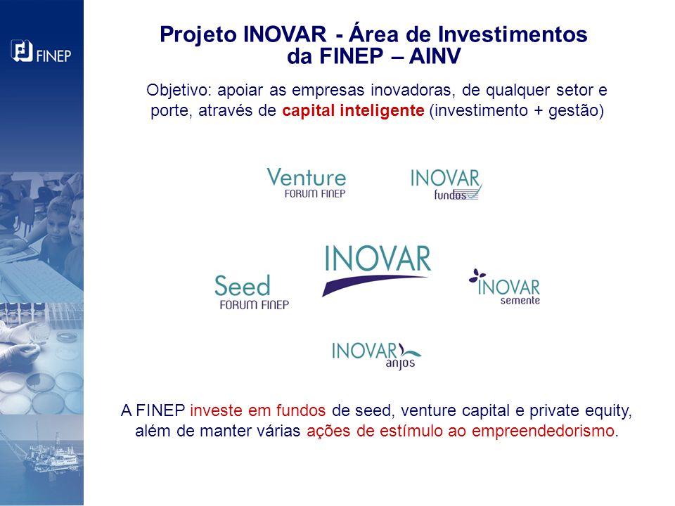 Projeto INOVAR - Área de Investimentos da FINEP – AINV A FINEP investe em fundos de seed, venture capital e private equity, além de manter várias ações de estímulo ao empreendedorismo.