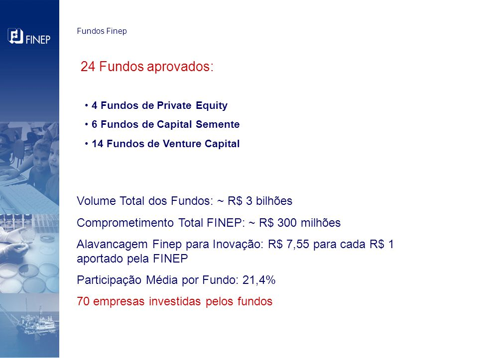 Fundos Finep 24 Fundos aprovados: 4 Fundos de Private Equity 6 Fundos de Capital Semente 14 Fundos de Venture Capital Volume Total dos Fundos: ~ R$ 3