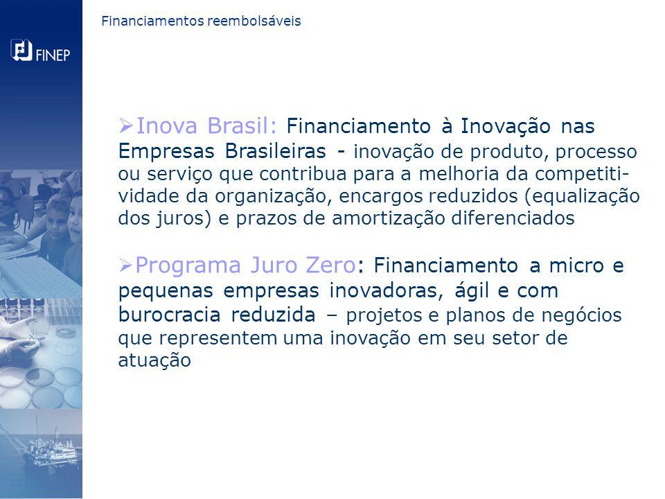  Inova Brasil: Financiamento à Inovação nas Empresas Brasileiras - inovação de produto, processo ou serviço que contribua para a melhoria da competiti- vidade da organização, encargos reduzidos (equalização dos juros) e prazos de amortização diferenciados  Programa Juro Zero: Financiamento a micro e pequenas empresas inovadoras, ágil e com burocracia reduzida – projetos e planos de negócios que representem uma inovação em seu setor de atuação Financiamentos reembolsáveis