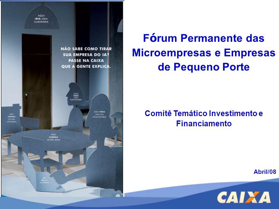 F ó rum Permanente das Microempresas e Empresas de Pequeno Porte Comitê Temático Investimento e Financiamento Abril/08