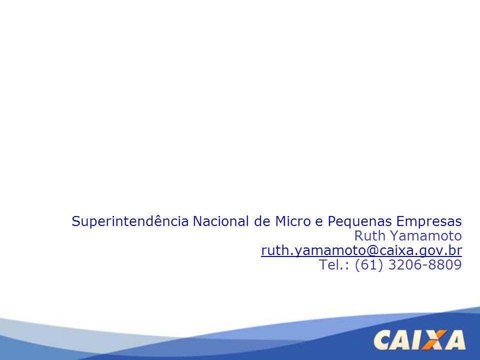 Superintendência Nacional de Micro e Pequenas Empresas Ruth Yamamoto ruth.yamamoto@caixa.gov.br Tel.: (61) 3206-8809